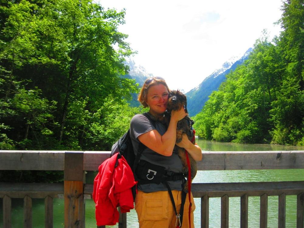 Met de hond op de foto bij de Klammsee