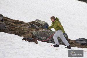 Wandelen in de sneeuw met de hond