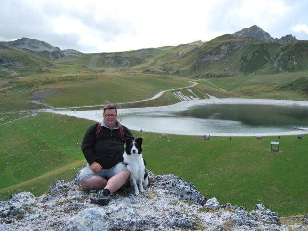 Met de hond op de foto bij Les Arcs