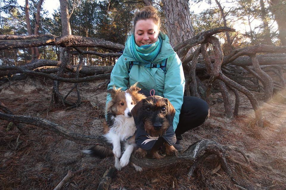 Op de foto met mijn hondjes in het Panbos