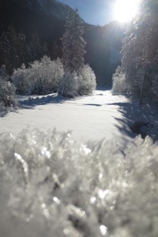 Zon, sneeuw en ijskristallen bij de Krimmler