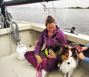 Op de zeilboot met een teckel en een sheltie